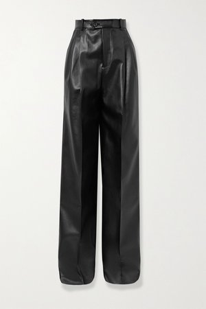 Black Pleated faux leather straight-leg pants | Peter Do | NET-A-PORTER