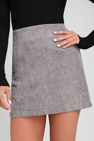 Cute Light Grey Skirt - Grey Mini Skirt - Corduroy Mini Skirt