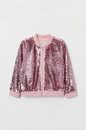 Bomber Jacket with Sequins - Pink/silver-colored - Kids | H&M US