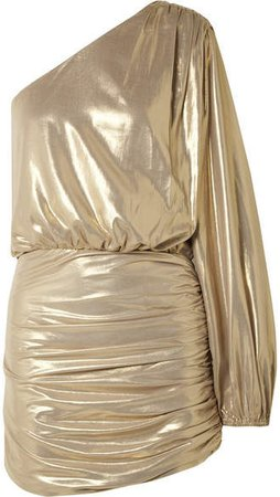 Michelle Mason - One-shoulder Draped Lamé Mini Dress - Gold