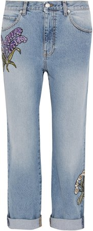 Appliqued Distressed Mid-rise Straight-leg Jeans