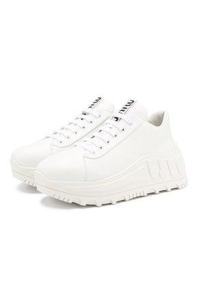 Женские белые кожаные кроссовки MIU MIU — купить за 64400 руб. в интернет-магазине ЦУМ, арт. 5E758C/3AQN