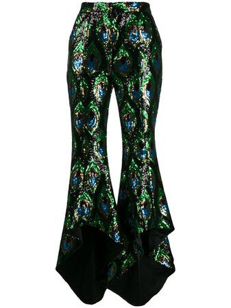 Giuseppe Di Morabito sequin-embroidered asymmetric trousers - Green