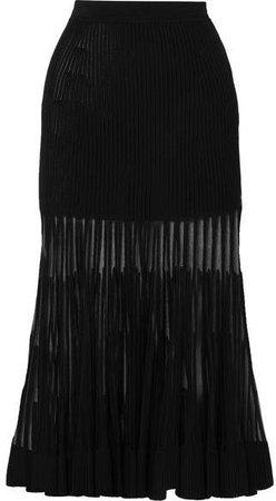 Mesh-paneled Ribbed Stretch-knit Midi Skirt - Black