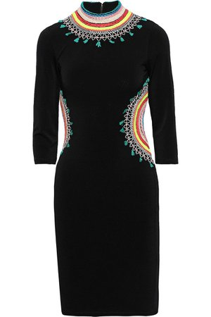 Black Tamson cutout embroidered stretch-crepe mini dress | Sale up to 70% off | THE OUTNET | ALICE + OLIVIA | THE OUTNET