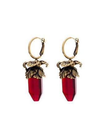 Alexander McQueen Deep Red Iris Pendant Earrings - Farfetch