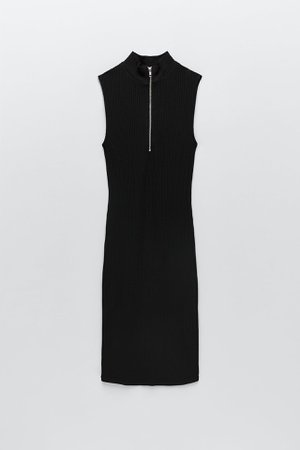 black RIBBED ZIPPERED DRESS | ZARA United States