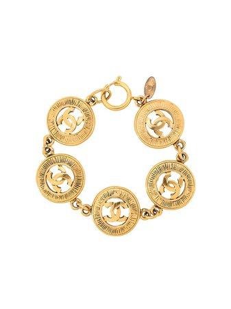 Chanel Pre-Owned 1980s CC Logo Medallion Bracelet - Farfetch