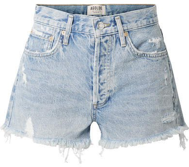 AGOLDE - Parker Distressed Denim Shorts - Light denim