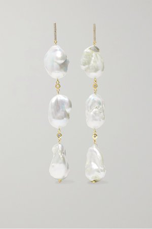 Gold 14-karat gold, pearl and diamond earrings | Mateo | NET-A-PORTER