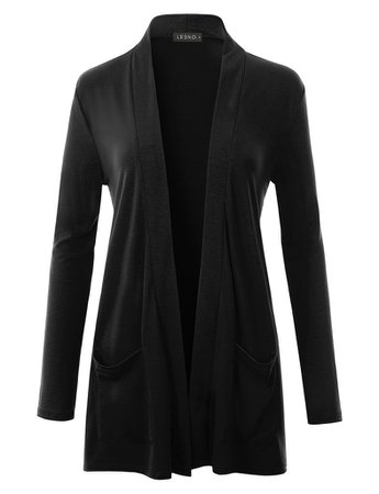 LE3NO Womens Classic Ultra Soft Long Sleeve Open Front Slouchy Pocket Cardigan   LE3NO black