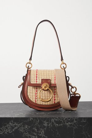 Brown Tess small leather and raffia shoulder bag | Chloé | NET-A-PORTER