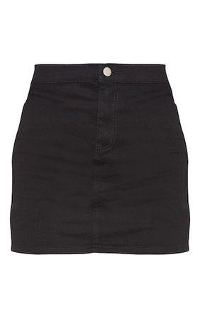 Black Disco Fit Denim Skirt   Denim   PrettyLittleThing