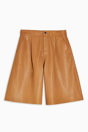 Camel Leather Culottes | Topshop