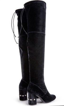 black velvet over knee boots