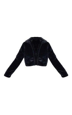Black Cropped Faux Fur Coat. Coats & Jackets | PrettyLittleThing USA