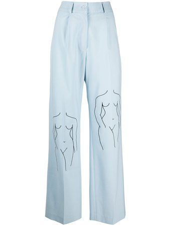 Shop blue Seen Users illustrated wool twill trousers with Express Delivery - Farfetch