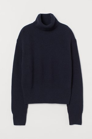 Ribbed Wool Turtleneck Sweater - Blue