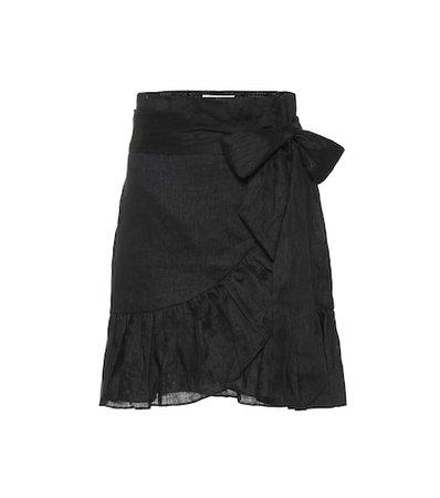 Ruffled linen miniskirt