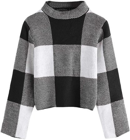 Floerns Women's Long Sleeve High Neck Plaid Crop Sweater Pullover Black S at Amazon Women's Clothing store