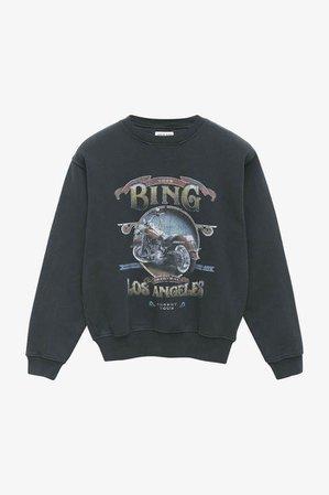 ANINE BING Ramona Sweatshirt Biker - Washed Black