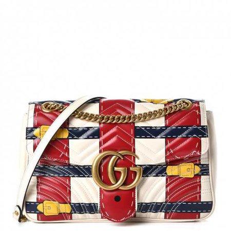 GUCCI Calfskin Matelasse Trompe L'Oeil Print Medium GG Marmont Shoulder Bag White 236848