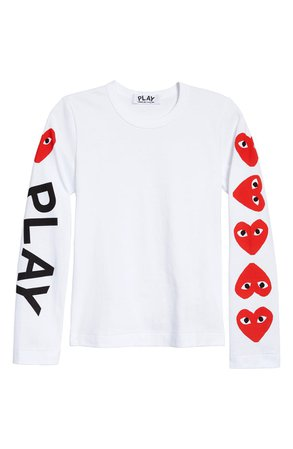 Comme des Garçons PLAY Logo Graphic Tee  white