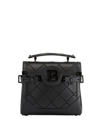 Balmain BBuzz 23 Suede & Leather Braided Shoulder Bag | Neiman Marcus