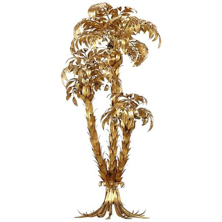 Extra Large Brass Gilt Metal Three-Trunk Palm Tree Floor Lamp by Hans Kögl For Sale at 1stdibs