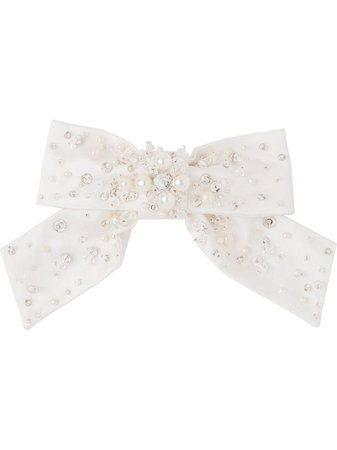 Shop white Miu Miu embellished bow hair clip with Express Delivery - Farfetch