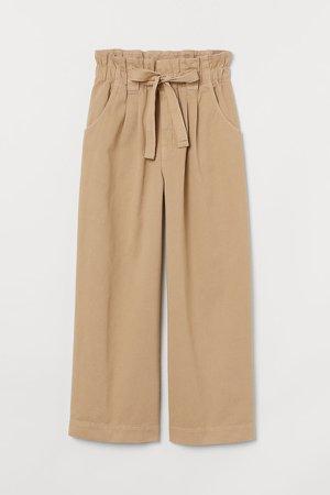Twill Paper-bag Pants - Beige