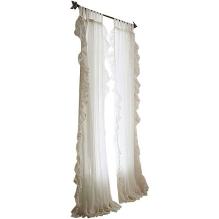 Plum & Bow Ruffle Gauze Curtain - White