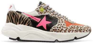 Running Sole Printed Calf Hair And Canvas Sneakers - Leopard print