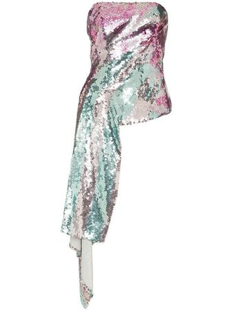 Halpern Metallic sequinned draped strapless top $2,392 - Buy Online - Mobile Friendly, Fast Delivery, Price