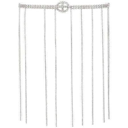 Vintage Silver Rhinestone Flapper Style Fringe Evening Belt