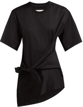 Marques'almeida - Knot Front Cotton Jersey T Shirt - Womens - Black