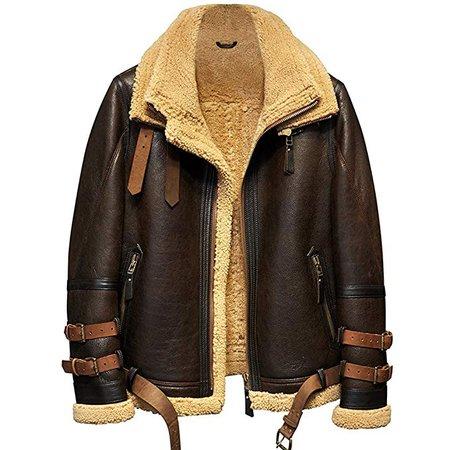 Denny&Dora Mens Shearling Jacket B3 Flight Jacket Imported Wool from Australia Short Leather Jacket Mans Fur Coat: Amazon.co.uk: Clothing