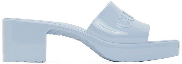 Blue Rubber Slide Heeled Sandals