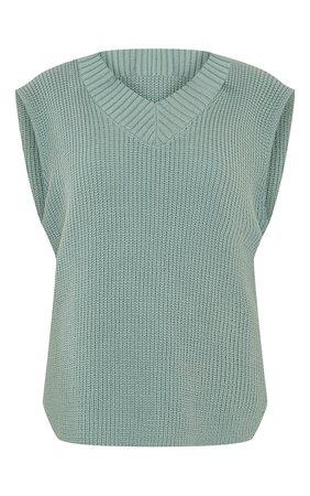 Sage Green V Neck Knitted Side Split Vest   PrettyLittleThing USA