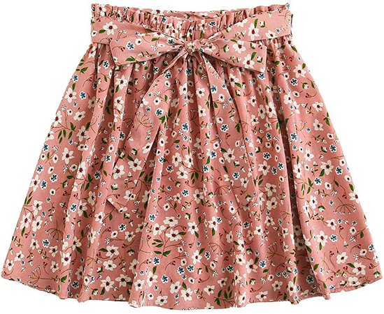 SheIn Women's Summer Floral Print Self Belted A Line Flared Skater Short Skirt Pink at Amazon Women's Clothing store