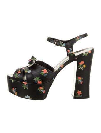 Saint Laurent Leather Floral Print Sandals - Shoes - SNT101380 | The RealReal