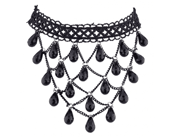 Black Lace Chain WAterfall Teardrop Stone Choker Necklace - Necklaces