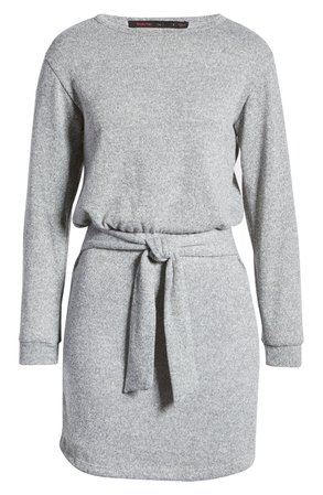 Fraiche by J Tie Front Long Sleeve Sweater Dress | Nordstrom