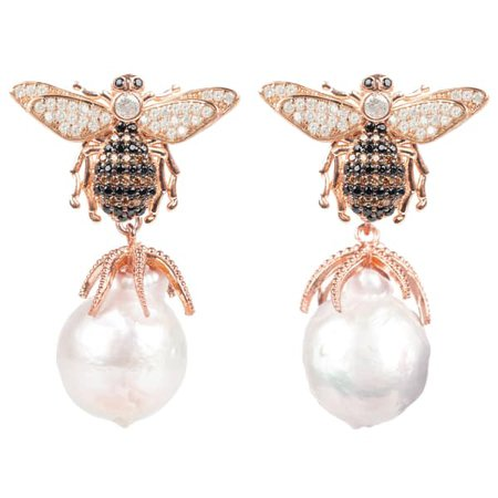 Honey Bee Baroque Pearl Drop Earring Rosegold | Latelita | Wolf & Badger