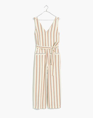 Striped Pull-On Jumpsuit ivory