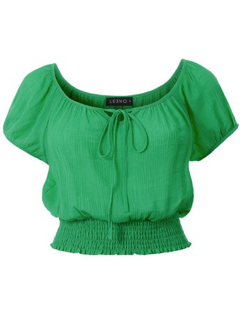 LE3NO Womens Casual Short Sleeve Smocked Boho Crinkled Cropped Blouse Top | LE3NO green