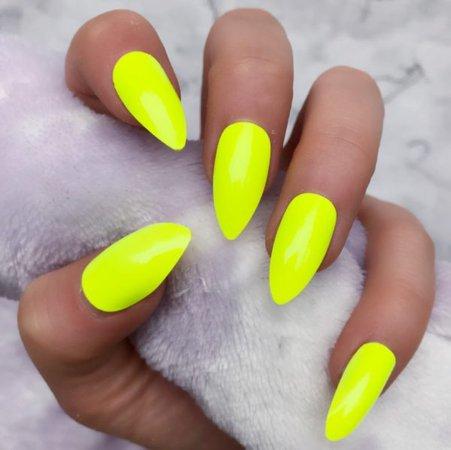 Neon Yellow Gloss Stiletto – Doobys Nails