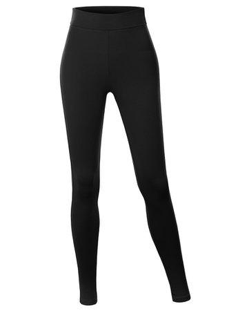 LE3NO Womens Cotton Jersey High Waist Fold Over Ankle Length Yoga Legging Pants | LE3NO black