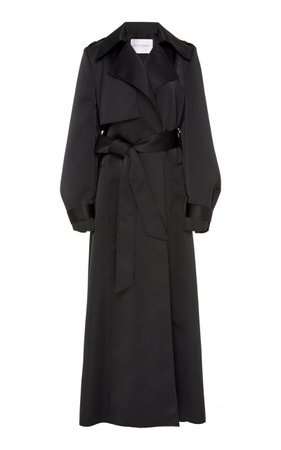 Carolina Herrera, Black Oversized Satin Trench Coat