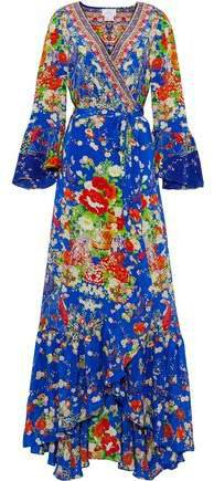 Playing Koi Embellished Printed Silk Crepe De Chine Maxi Wrap Dress